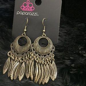 Cute brass colored dangle earrings